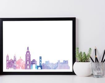 Rhodes Skyline Print A4