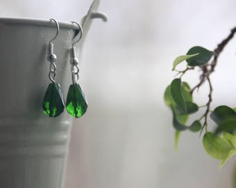 Transparent Green Teardrop Earrings