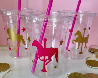 Carousel Horse Party Cups, Carousel Horse Favor Cups, Girls Party, Carousel Horse Birthday, Horse, Pink and Gold, 1st Birthday, Baby Shower