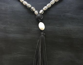 Black Leather Fringe Necklace