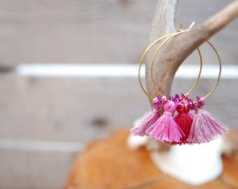 Creole earrings gold seed beads, sequins and pink PomPoms