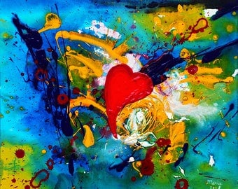 Original painting on canvas, colorful abstract acrylic painting on canvas - Passion