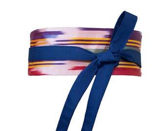 Navy Blue and Rainbow Mini Obi Belt / Wrap Belt / Fabric Belt