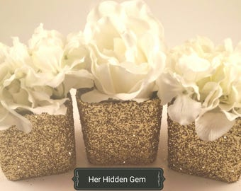 3 Gold Glitter Vase Centerpieces ready for any wedding, baby shower. bridal shower, or any other special event.