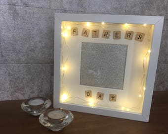 FATHERS DAY light up box frame scrabble letters. Father's Day photo frame gift