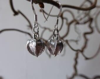 fine silver flower bud earrings, gift for her