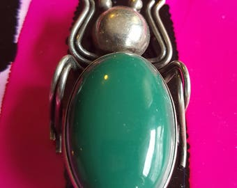 Vintage Green Onyx and Sterling Silver Insect Pin