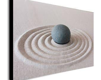 Zen Pebble Ripple Sand Canvas Wall Art - Various Sizes