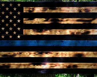 48x26 Thin Blue Line Wooden Flag, Police Flag, Law Enforcement Flag, Blue Line Flag, Charred Thin Blue Line Flag