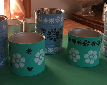 Upcycled, personalized tin cans.
