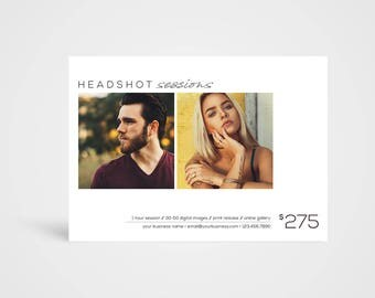 Headshots etsy headshot sessions template instant download photoshop template photographers marketing board pronofoot35fo Gallery
