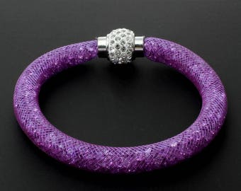 Stardust Mesh Magnetic Crystal Bangle Bracelets 5 Colors