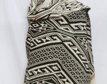 Black and White Cotton Throw Blanket / Shawl or Wall Hanging / Hand spun cotton / Natural dyes / Hand-woven/
