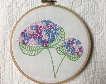 Hydrangea Hand Embroidered Hoop