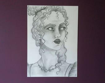 """Prom Queen"" pencil portrait"