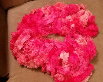Ruffle Scarf, Sashay Fringe, Flirty, Pink & orange
