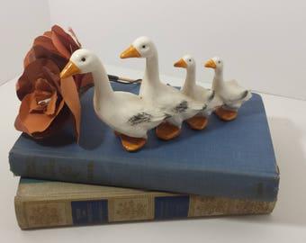 Vintage ducks in a row porcelain figurine