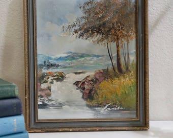 Vintage Landscape Painting in Original Frame