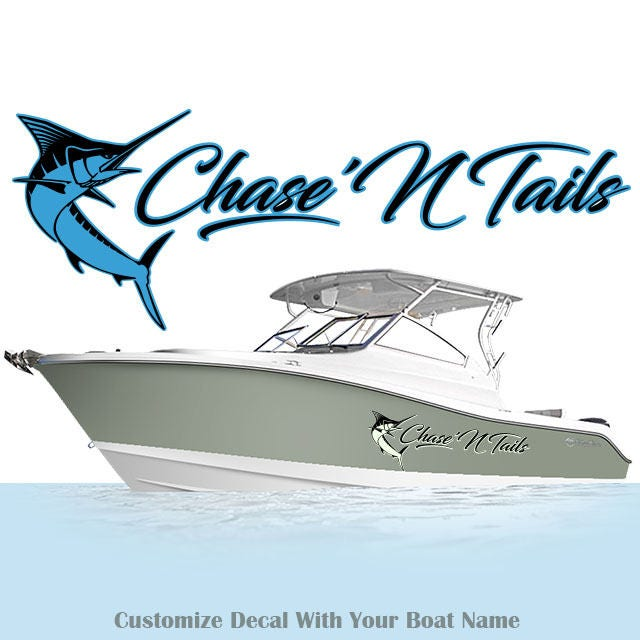Custom Boat Name Decal Marlin Sticker Fish Decals