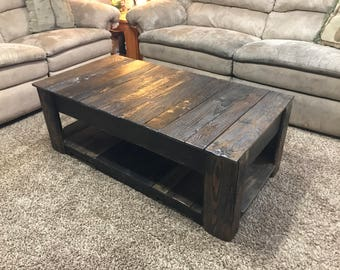 Rustic Ranch Style Coffee Table w/ 2 Secret Gun and Jewelry Compartments