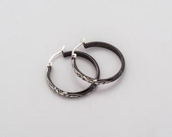 Sterling Silver Black Rhodium Earrings