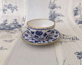 Miniature Spode Teacup And Saucer Bone China England, Blue and White Floral Pattern Teacup and Saucer
