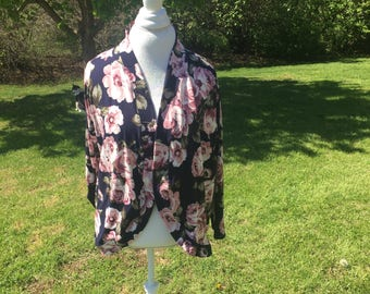 XXL Navy and Pink Floral Cardigan