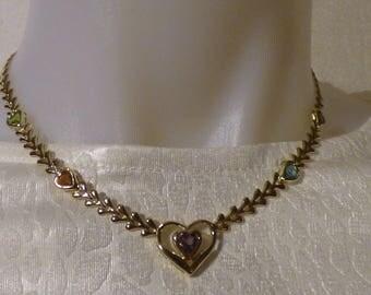 "14K Yellow Gold Necklace w/ Genuine Semi Precious Heart Stones, 16"" NEW 12.6g"