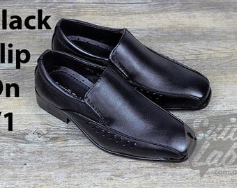 Boys Formal Wedding Black Slip On Shoes v1 - Wedding, Church, Formal, Communion Shoes (9215)