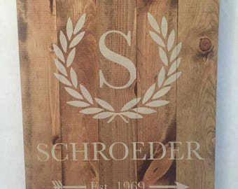 Custom Monogram Wood Sign - Hand crafted stained and stenciled wood sign