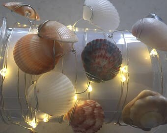 10ft LED string lights with authentic seashells