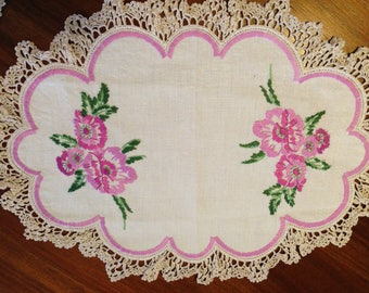Vintage hand embroidered centrepiece doily, 45 x 33 cm, two tone mauve flowers