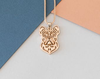 French Bulldog Stencil Necklace - Gold Plated