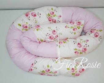 Bed snake roses fabric/pink