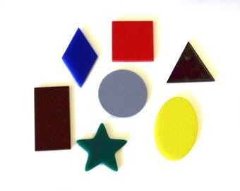 Basic Geometric Shapes, set of 7, colorful acrylic, montessori learning, shape recognition, Homeschool, beautiful math, math manipulative