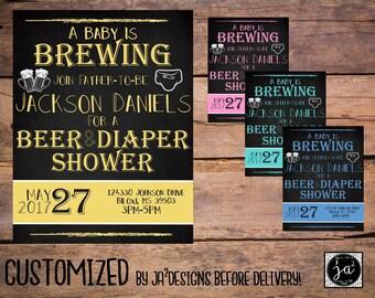 Customizable Diaper Shower invite/ Baby Shower For Dad/ Diaper and Beer Shower Invitation/  Diaper Shower Invitation/  Baby Shower Invite