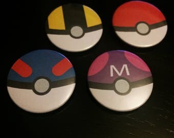"Set of 4 Pokeball 1"" / 25mm Button Badge"