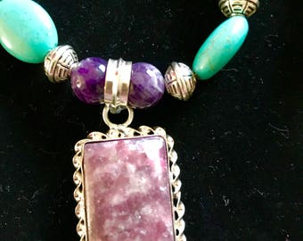 Rhodochrosite and 10mm genuine amethyst beads with magnesite turquoise silver plated necklace
