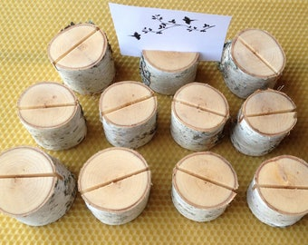 20 Wedding Place Card Holders, Rustic Weddings Table Decor, Natural Birch Wood Place Card Holders, Rustic Birch Wood Place Card Holders