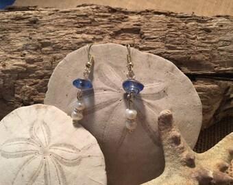 Blue Sea Glass and Pearl Earrings