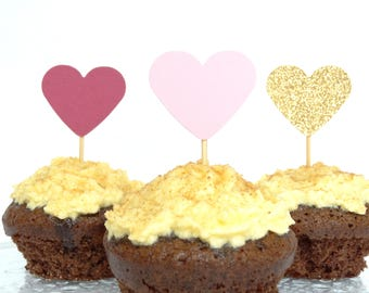 Pink And Glittery Gold Cupcake Toppers - Baby Shower - Pink And Gold Wedding Decorations - Muffin Toppers