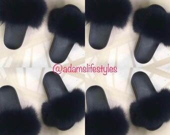Fox fur slide slippers Size 10