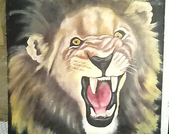 A roaring lion painting