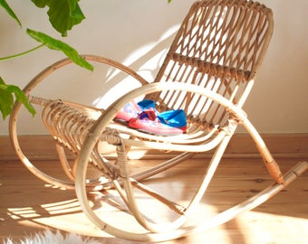 Rattan rocking vintage chair