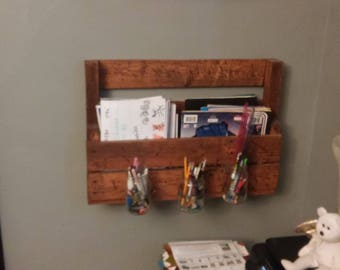 Pencil holder notebook shelf
