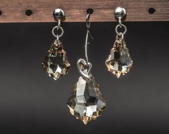 Golden shadow baroque swarovski crystals and 925 sterling silver earrings and pendant jewelry set