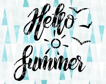 Hello Summer SVG, Summer SVG, Sunshine SVG, Beach Svg, Ocean Svg, Travel Svg, Vacation Svg, Instant download, Eps - Dxf - Png - Svg