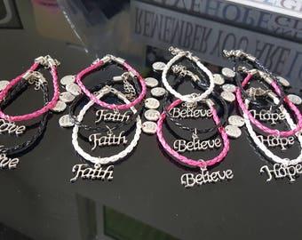 Faith, Hope Love, Believe - Braided Leather Charm Bracelet