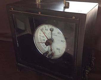 Large, heavy old thermometer has pressure & contacts-Collec - industrial deco