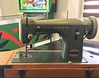 vintage 1950-1960 - COSSON SEWING MACHINE in original case full working order